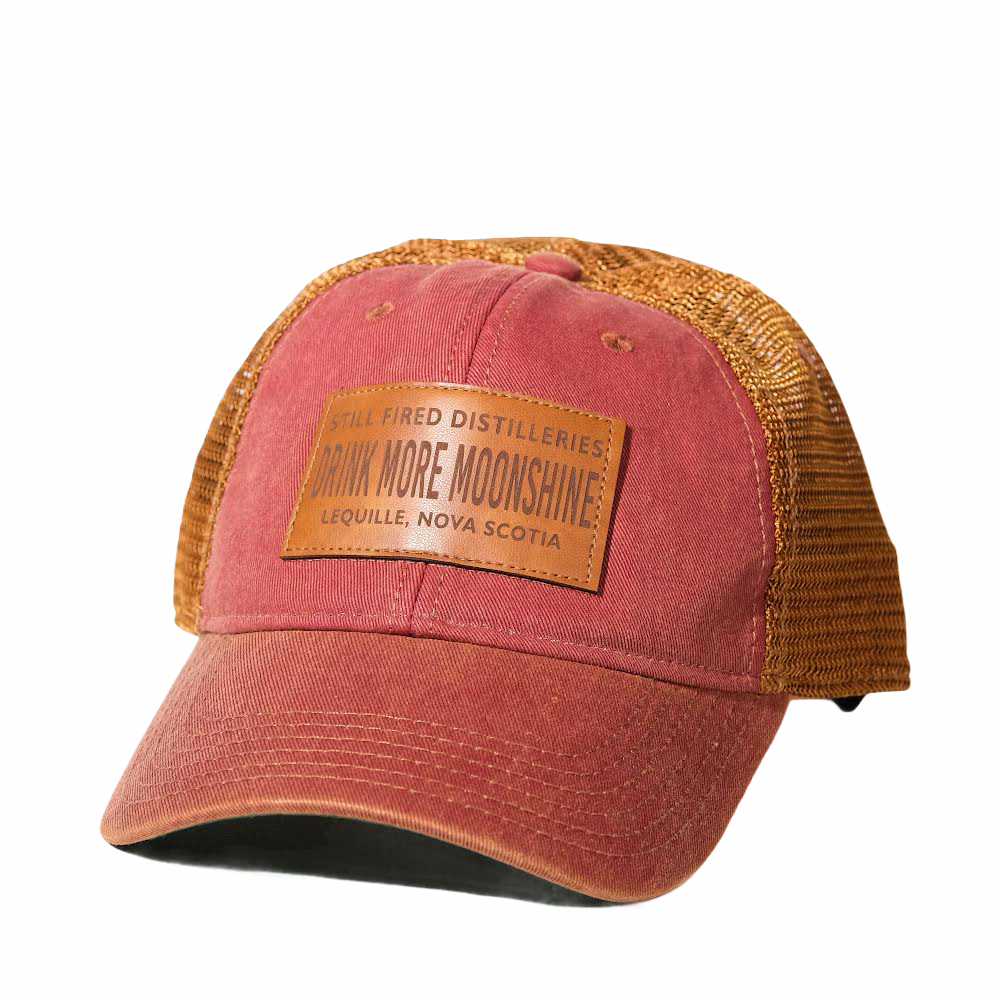 red and copper mesh back hat